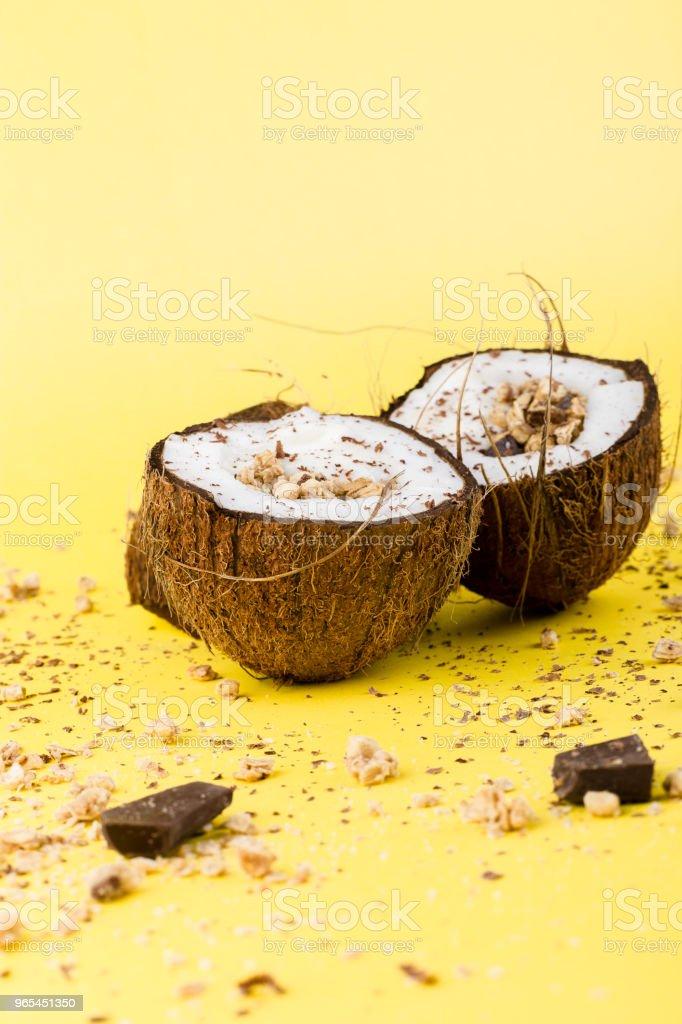 Granola with chocolate  in coconut zbiór zdjęć royalty-free