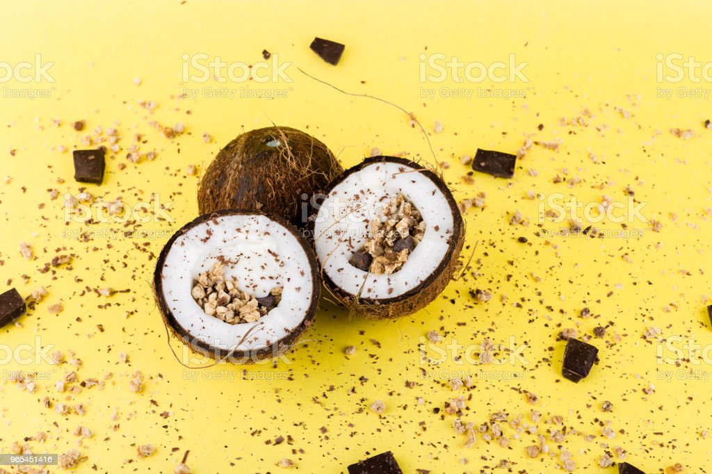 Granola with chocolate  in coconut royalty-free stock photo