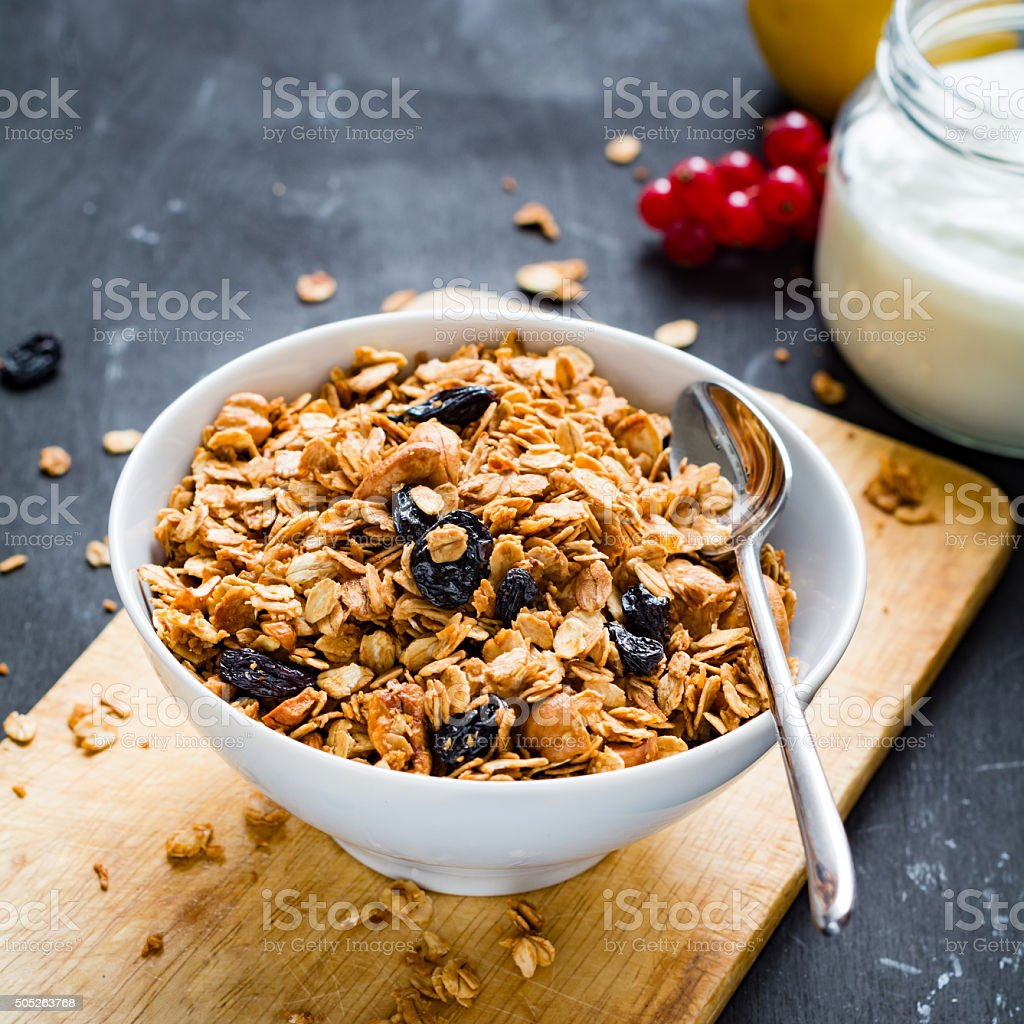 Granola, yogurt and fruits stock photo