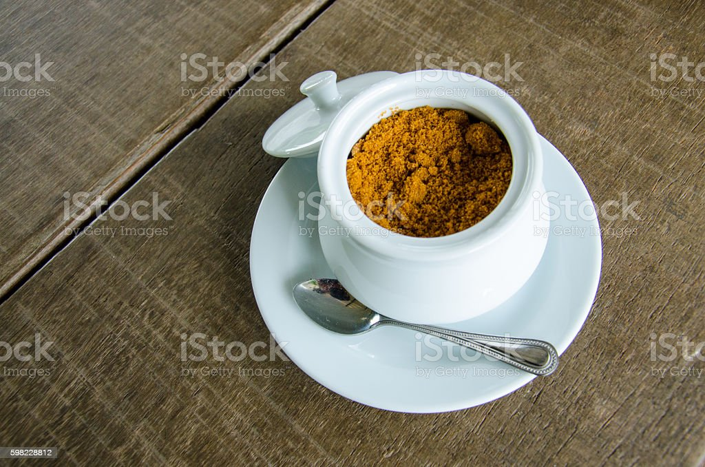Granulated Sugar on the Wood Table foto royalty-free