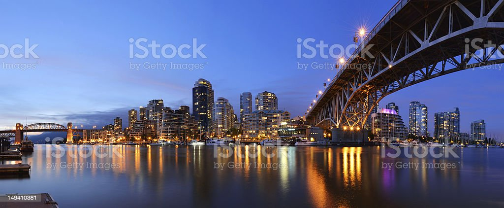 Granville Bridge and Downtown Vancouver at dusk stock photo