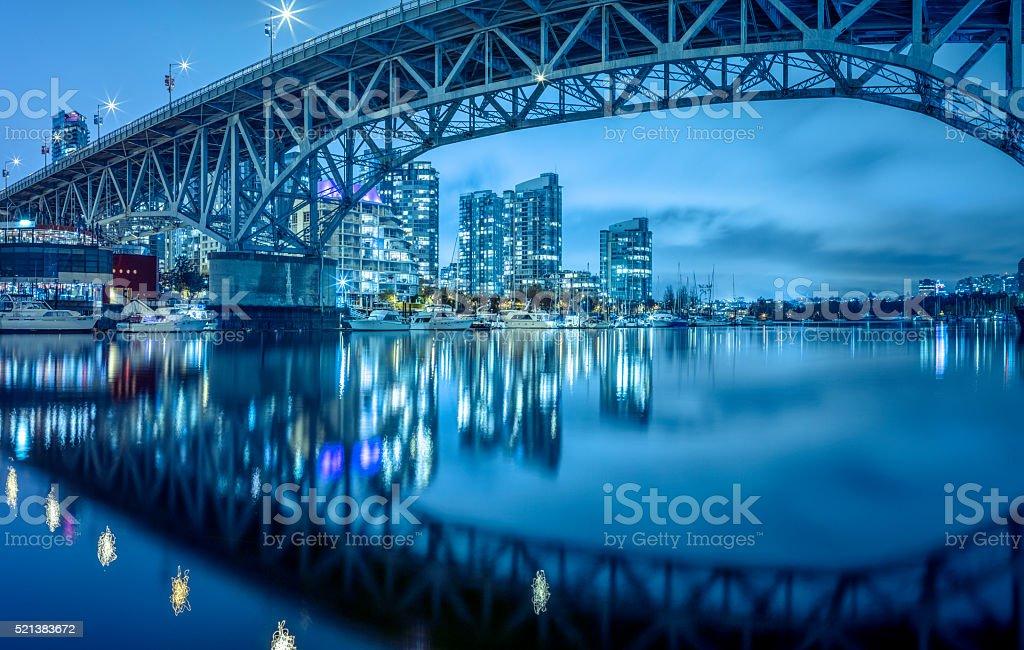 Granville  Bridge at night stock photo