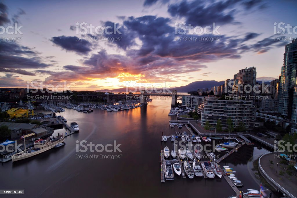 Granville island at sunset, Vancouver, Canada royalty-free stock photo