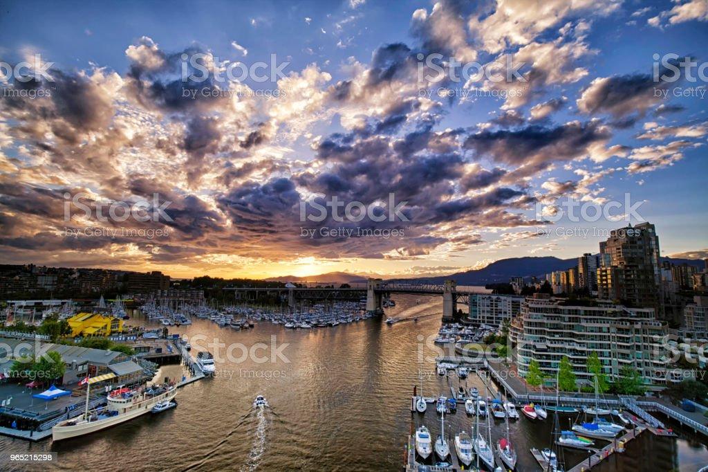 Granville island at sunset, Vancouver, Canada zbiór zdjęć royalty-free