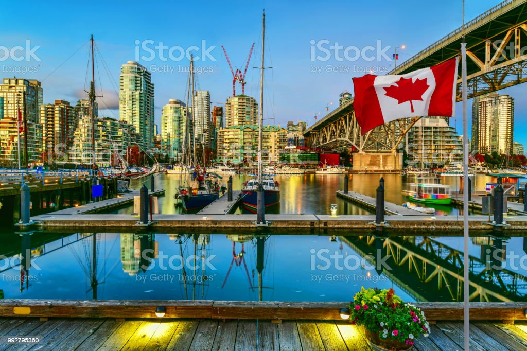 Granville island at twilight in Vancouver,Canada stock photo
