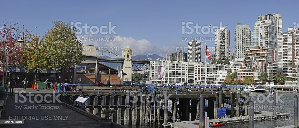 Granville Island Market Courtyard and False Creek, Vancouver, British Columbia royalty-free stock photo