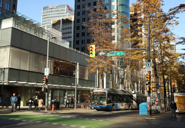Granville Street at Dunsmuir, Downtown Vancouver, Canada stock photo