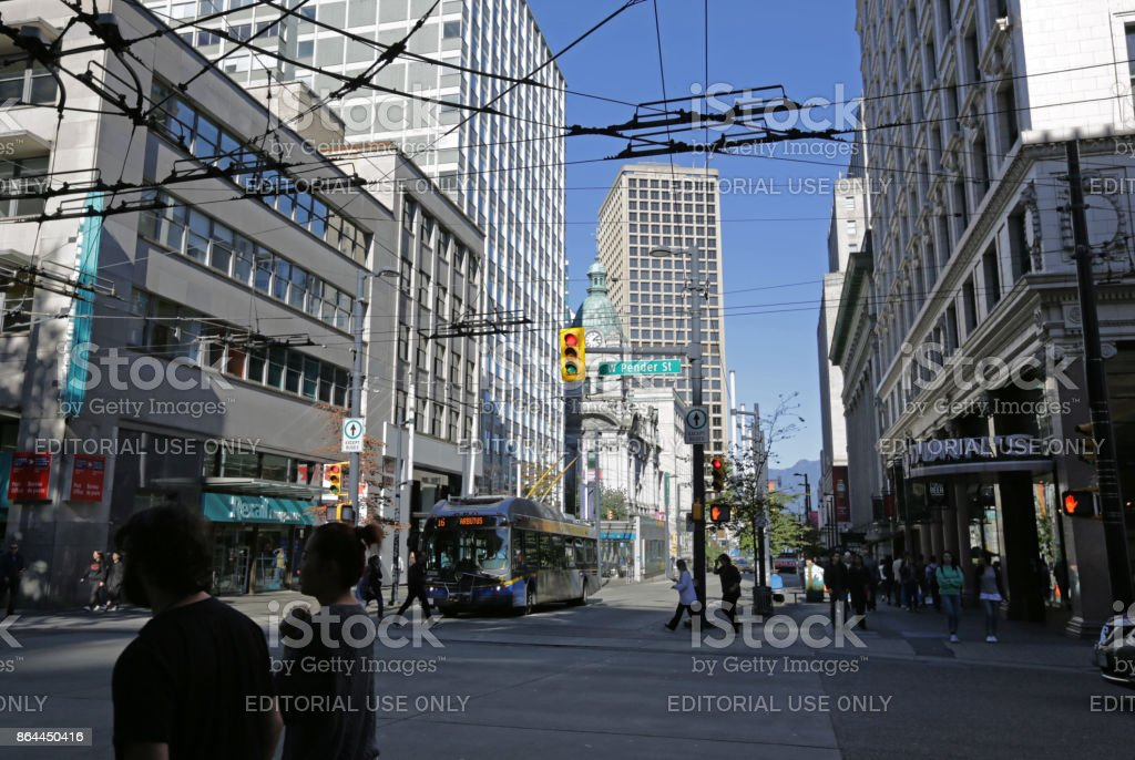 Granville Street, Downtown Vancouver, Canada in Autumn stock photo