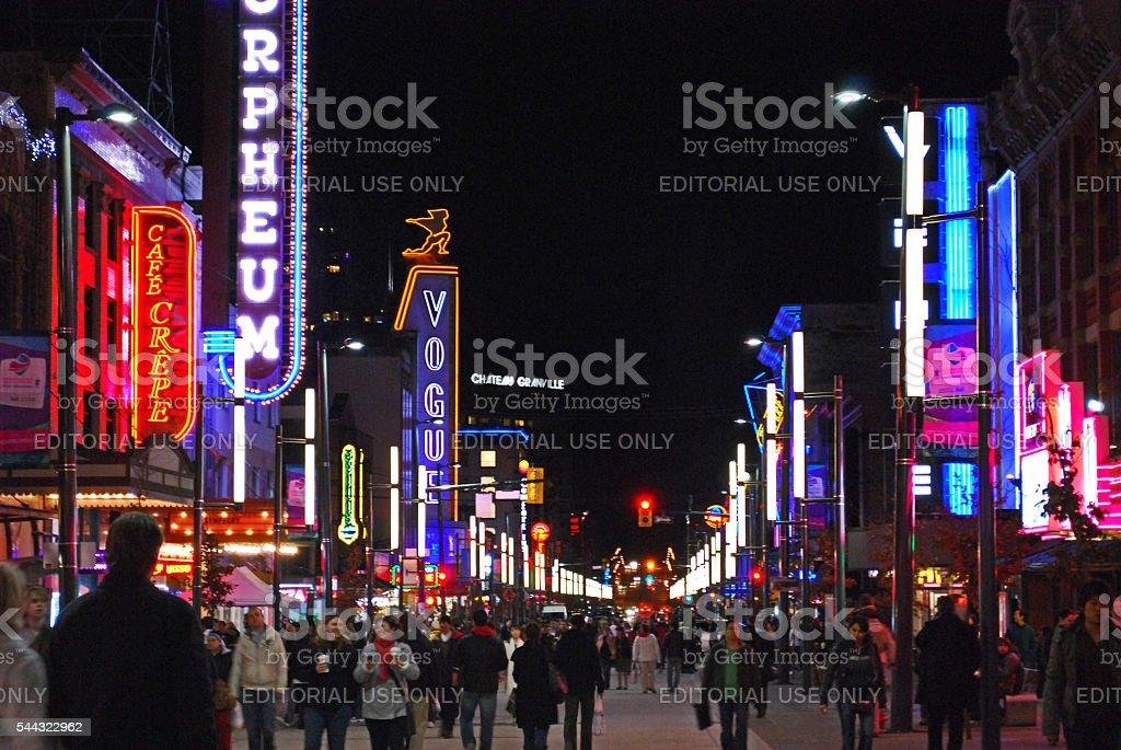 Granville street entertainment district stock photo