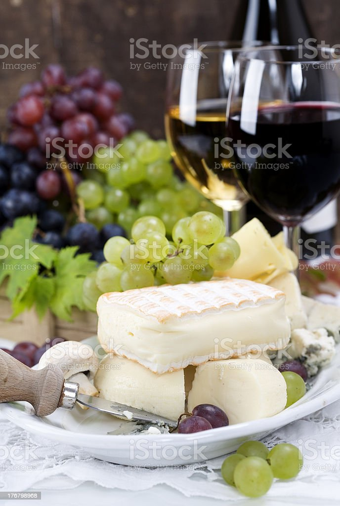 Grape and cheese royalty-free stock photo