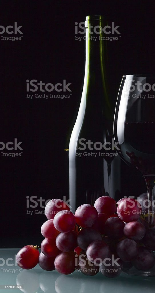 grape and glass with red wine royalty-free stock photo