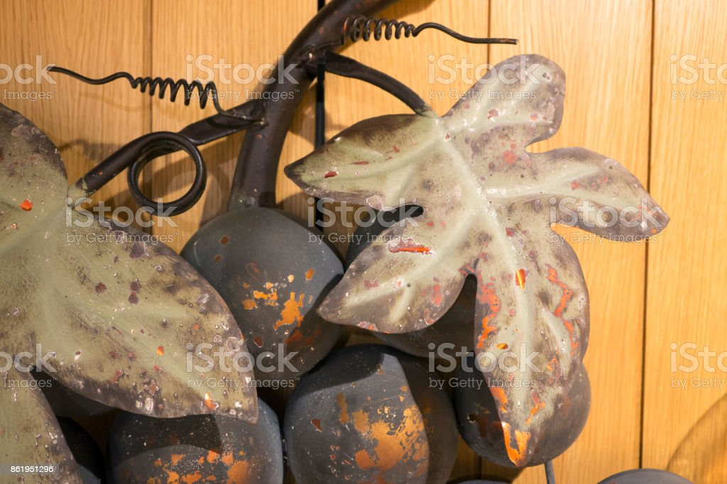 Grape and leaves , gold leafs wall decoration stock photo