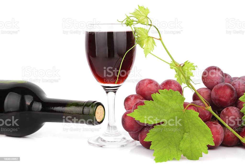 grape and Red Wine isolated on white background royalty-free stock photo