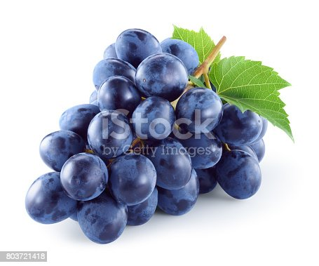 Grape. Dark grape. Grapes with leaves isolated. With clipping path. Full depth of field.