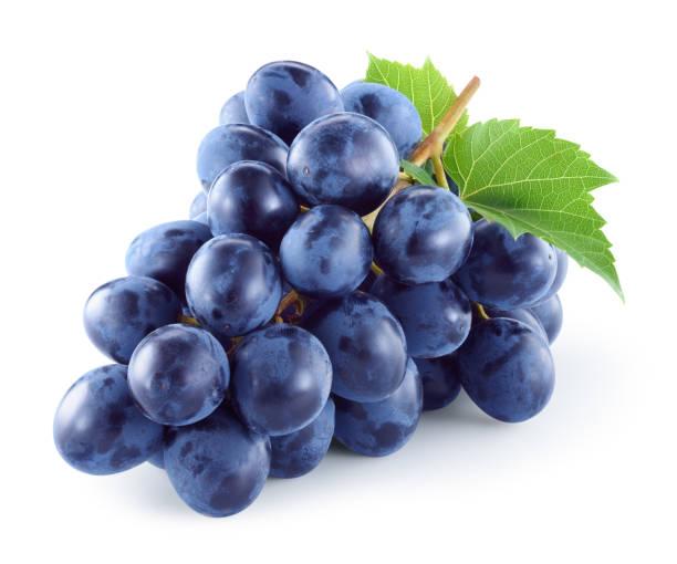 uva. uva oscuro. uvas con hojas aisladas. con trazado de recorte. profundidad de campo. - grapes fotografías e imágenes de stock