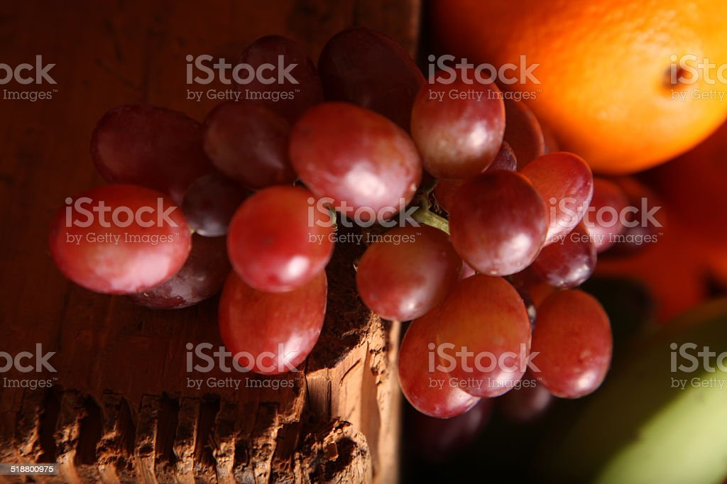 Grape on a crate stock photo