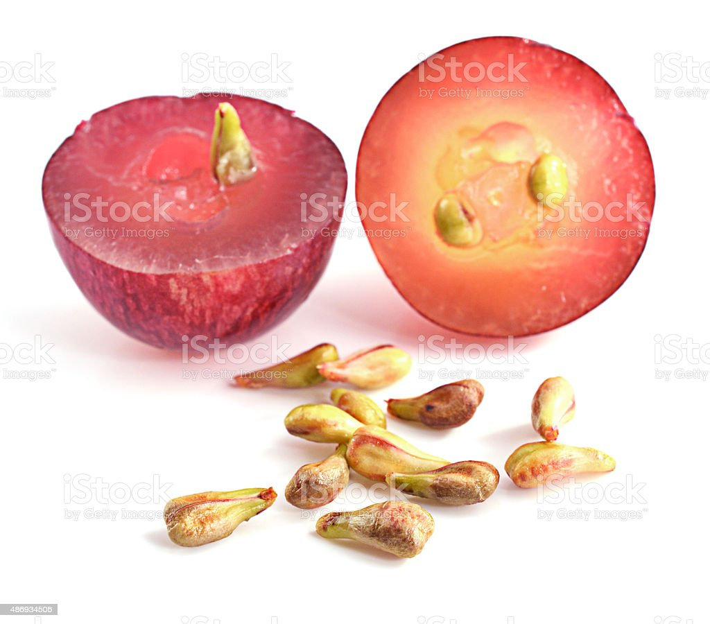 grape seeds on white background macro closeup stock photo