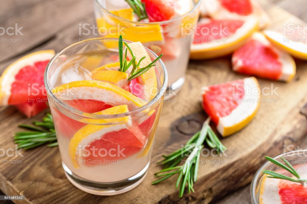 Grapefruit and rosemary cocktail stock photo
