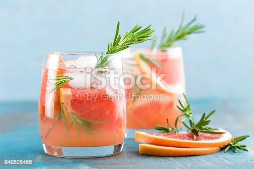 istock Grapefruit and rosemary gin cocktail, refreshing drink with ice 646828488