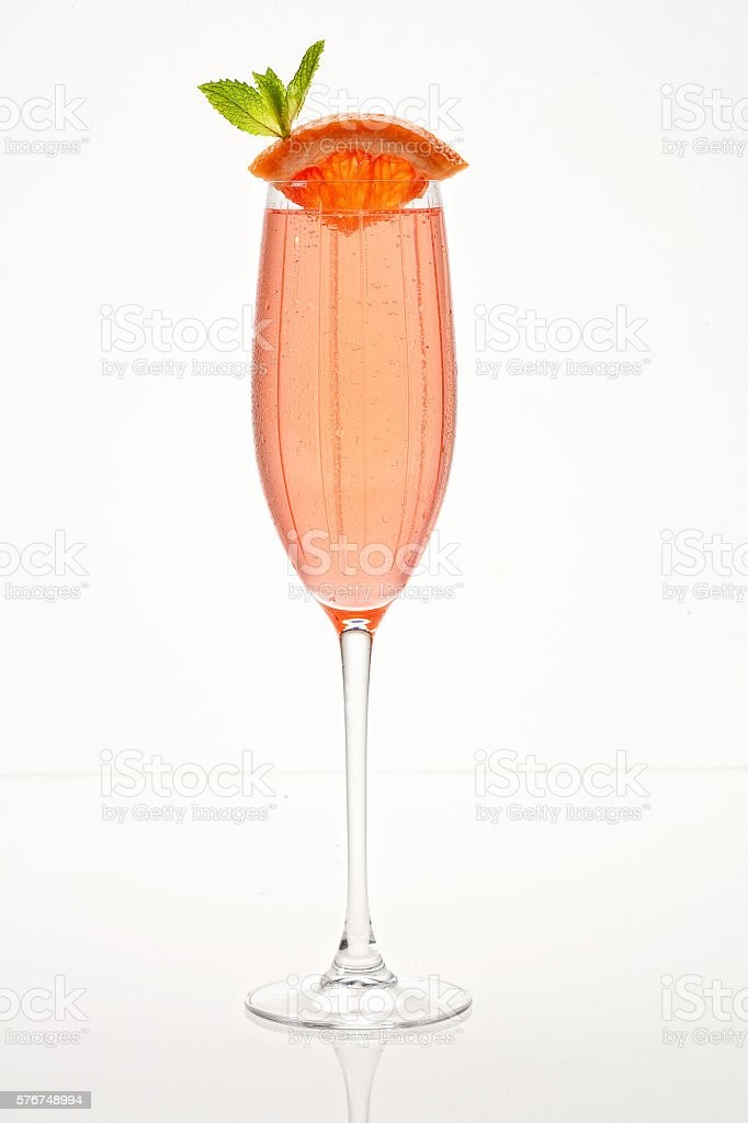 Grapefruit Champagne Bellini stock photo