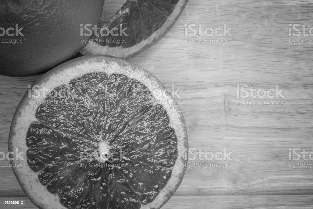 Grapefruit citrus fruit close up, black and white color zbiór zdjęć royalty-free