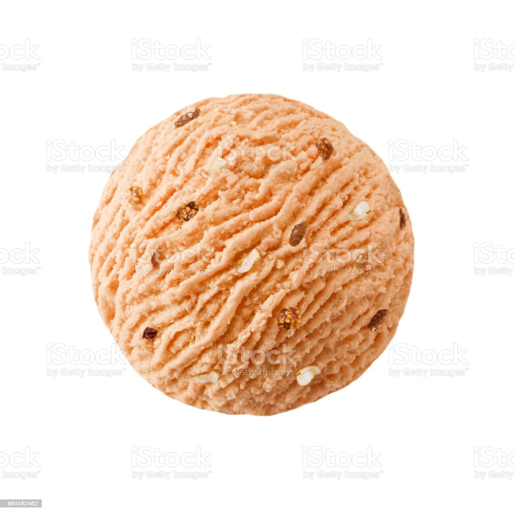Grapefruit ice cream scoop with raisins nuts pieces stock photo