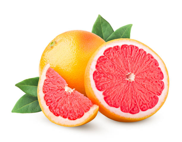 グレープ フルーツ白い背景に、クリッピング パスに分離された完全な被写し界深度 - グレープフルーツ ストックフォトと画像