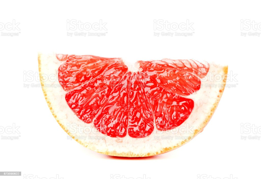 Grapefruit piece isolated on white background. Fresh fruit. With clipping path. stock photo