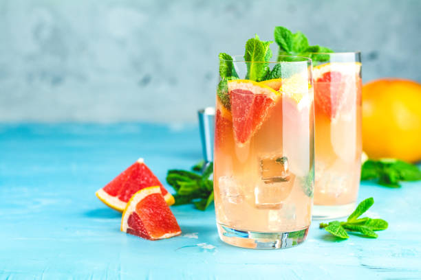 Grapefruit refreshing drink with ice stock photo