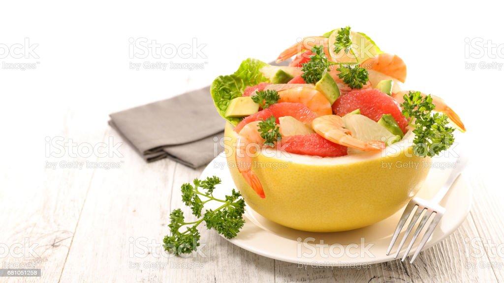 grapefruit salad with shrimp and avocado royalty-free stock photo