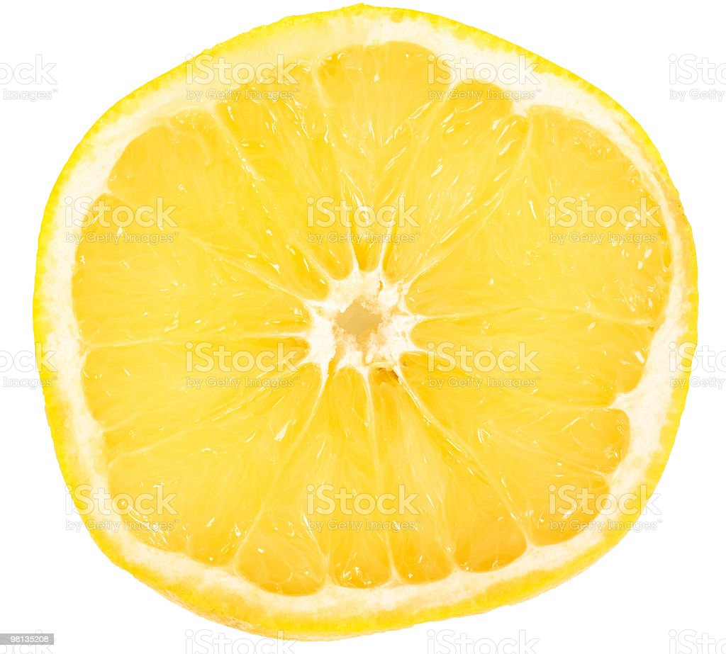 Grapefruit Slice Over White with a Bright Yellow royalty-free stock photo