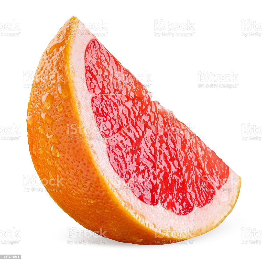 Grapefruit slice with drops isolated on white background stock photo