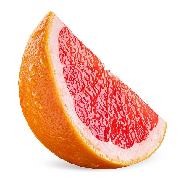 グレープフルーツのスライスに滴白背景 - グレープフルーツ ストックフォトと画像