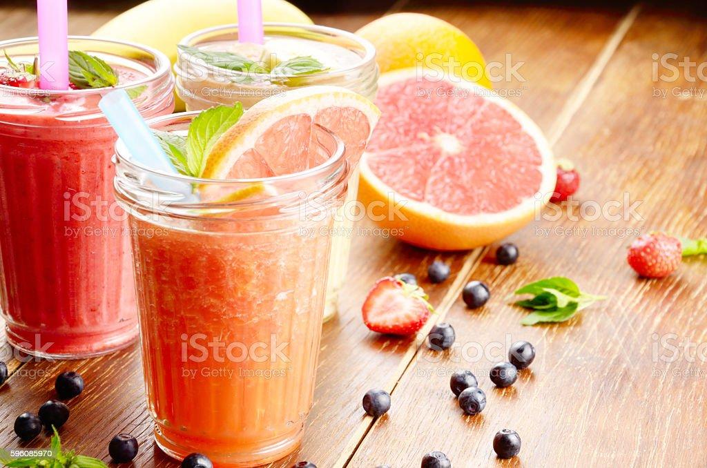 Grapefruit strawberry and banana smoothie royalty-free stock photo