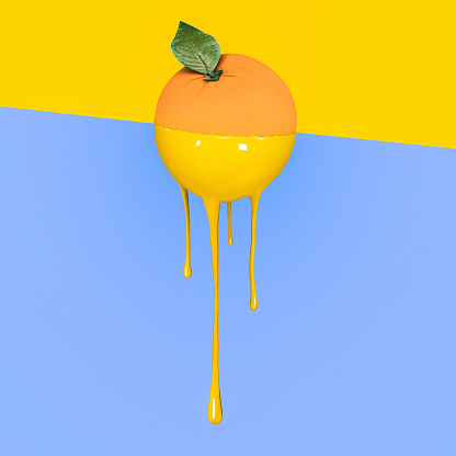 istock Grapefruit with dripping yellow paint on pastel blue and  yellow background. Minimal food concept. 905828072