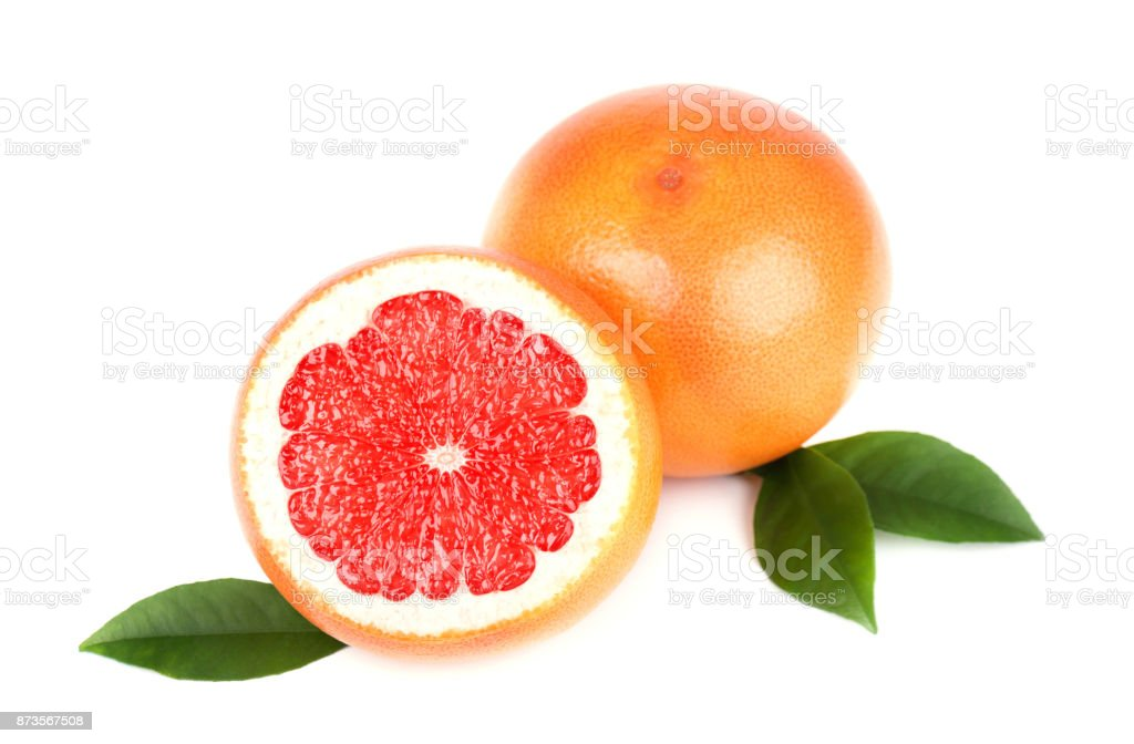 Grapefruit with half slice and leaves isolated on white background with clipping path. Grapefruit isolated, grapefruits. stock photo