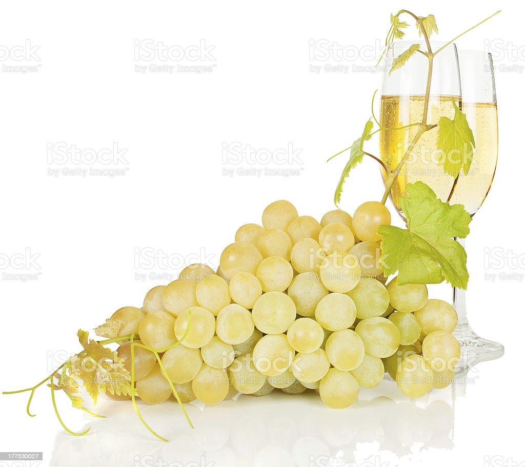 Grapes and champagne stock photo