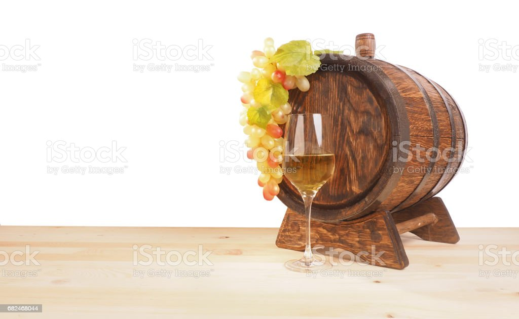 Grapes and wooden barrel on a white backgroun royalty-free stock photo