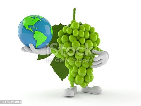 Grapes character holding world globe isolated on white background. 3d illustration