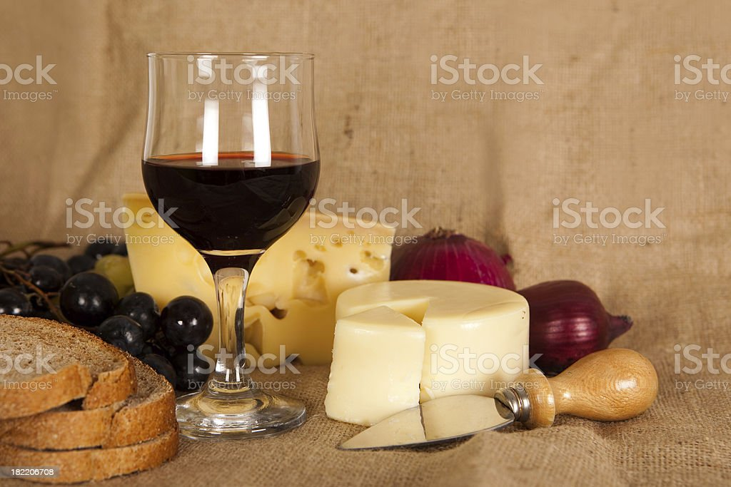 Grapes, cheese and  wine royalty-free stock photo