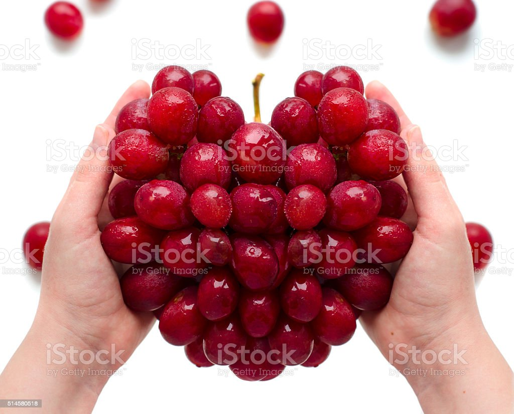Grapes in the form of heart stock photo