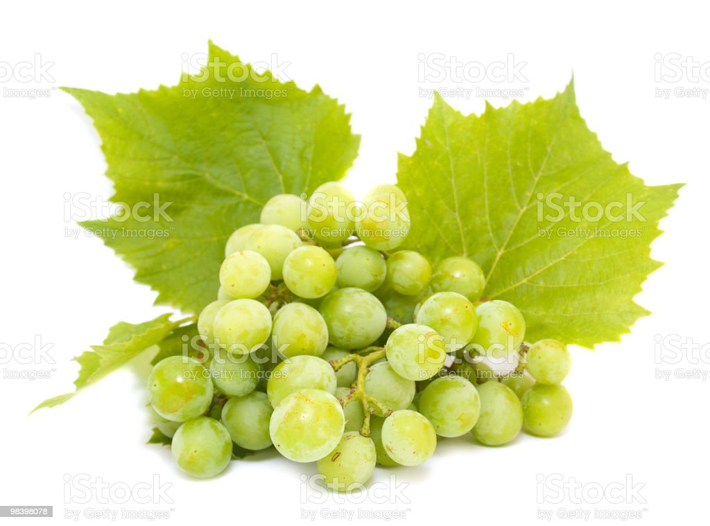 Grapes white with leaves royalty-free stock photo