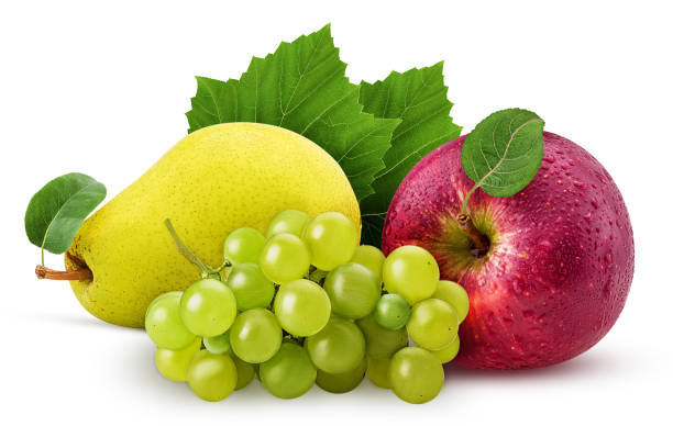 Grapes yellow pear and red apple with leaf stock photo