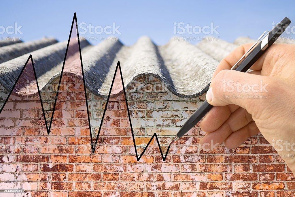 Graph about issues relating asbestos stock photo