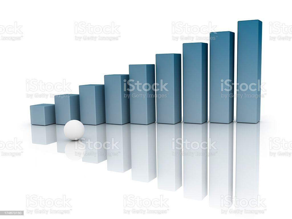 Graph and white Sphere royalty-free stock photo