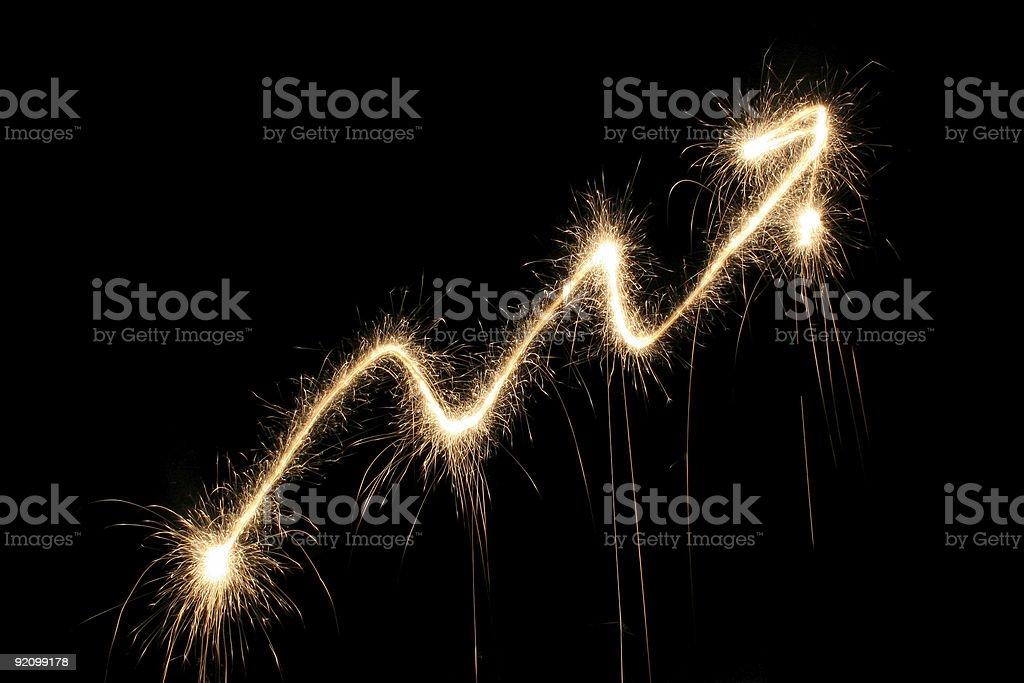 graph arrow sparkler royalty-free stock photo