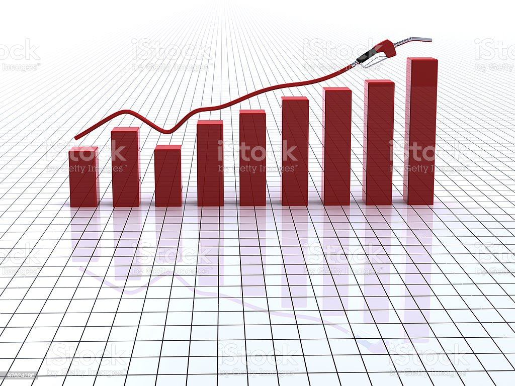 Graph bars and fuel nozzle royalty-free stock photo