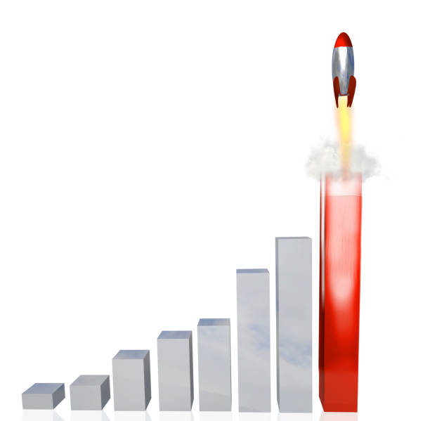 graph bars statisticks rocket launch from red bar - 3d rendering graph bars statisticks rocket launch from red bar - 3d rendering explosive stock pictures, royalty-free photos & images