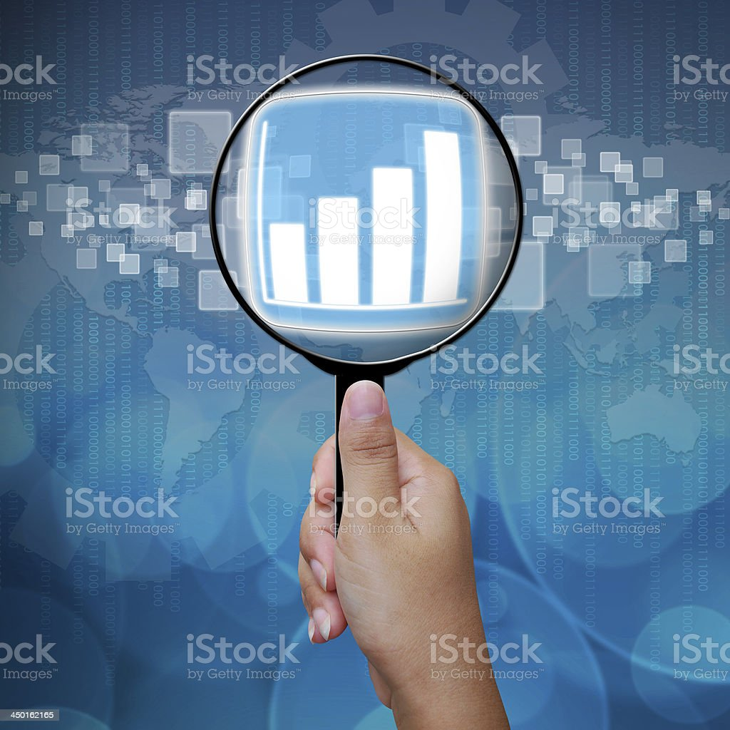 Graph button in Magnifying glass royalty-free stock photo