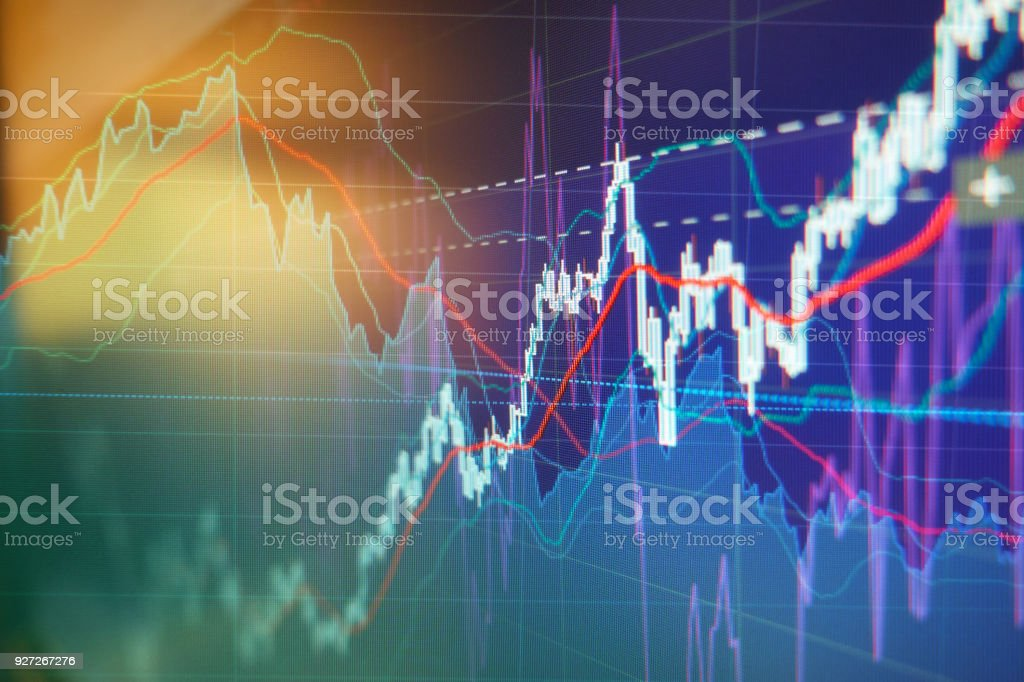 Graph charts of stock market stock photo